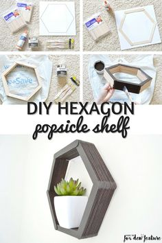 Ivy from Perfectly Ambitious shares how easy it is to create a DIY Hexagon Popsicle shelf to display your decor! Ivy from Perfectly Ambitious shares how easy it is to create a DIY Hexagon Popsicle shelf to display your decor! Art Diy, Diy Wall Art, Diy Wall Decor, Diy Home Decor, Room Decor, Diy Wand, Diy Popsicle Stick Crafts, Popsicle Sticks, Home Crafts