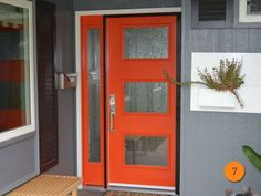 Contemporary Red Entry Door. Therma-Tru Smooth Star model Pulse Ari (S2XJ) with sidelight. Santa Ana, CA.