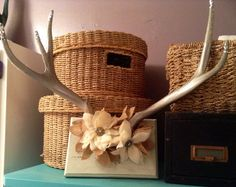 Deer Antlers partial skull mounted embellished with Glitter Flowers Home Decor