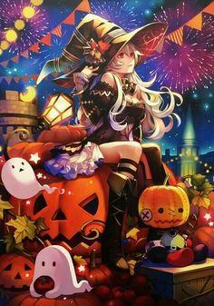 Halloween anime manga girl Witch pumpkin Jack o lantern ghost Anime Halloween, Kawaii Halloween, Halloween Tipps, Happy Halloween, Halloween Icons, Halloween Halloween, Halloween Treats, Manga Girl, Chica Anime Manga