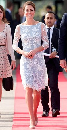 Kate Middleton's Most Memorable Outfits Ever!    September 14, 2012  The Duchess of Cambridge boarded the plane to Sabah in an ice blue dress by Temperley London with lace detailing.