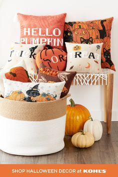 When it comes to Halloween, you can never have too many fun, festive throw pillows. From colorful pumpkins to cute black cats, we've got the ones you'll love all season long. Shop fall throw pillows, decor and more at Kohl's and Kohls.com. #Halloween #pillows Halloween Pillows, Halloween Home Decor, Halloween House, Fall Home Decor, Easy Halloween, Holidays Halloween, Halloween Pumpkins, Halloween Crafts, Halloween Decorations