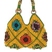 jute shoulder bag 'sunflower fiesta' - an alternative strap
