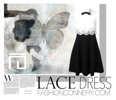 """Pretty Lace Dress & Butterfly Painting"" by fashionconnery ❤ liked on Polyvore featuring Valentino"