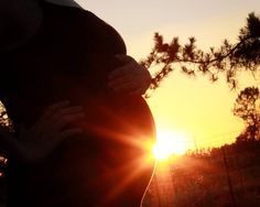Pregnant maternity subset silhouette portrait photograph by Megan Beckwith Photography