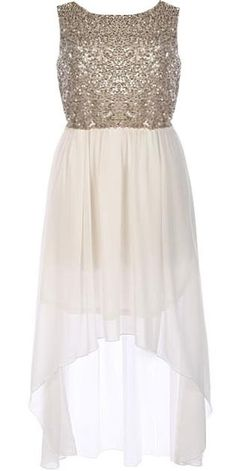 Glitter and white high low dress