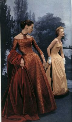 dior copper dress winter 1954
