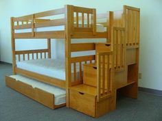 Built-in Stairway instead of ladder for easy access to the top bunk - 3 drawers built into Stairway. Bedz King Stairway Bunk Twin Over Twin Bed With 3 Drawers In The Steps, Honey. Twin over Twin Stairway Bunk Bed converts to 2 Single Beds. Under Bed Drawers, Bunk Beds With Drawers, Bunk Beds With Storage, Bunk Bed With Trundle, Cool Bunk Beds, Twin Bunk Beds, Kids Bunk Beds, Bed Storage, Storage Stairs