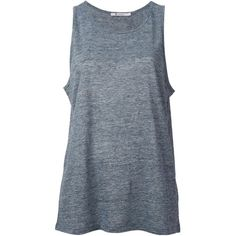 T By Alexander Wang Loose Fit Tank Top (£100) ❤ liked on Polyvore featuring tops, shirts, tank tops, tanks, blue top, blue tank top, loose tank top, sleeveless tops and sleeveless tank tops