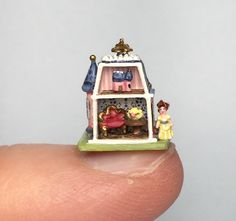 "OOAK Handcrafted Micro 1 144"" Miniature Dollhouse Victorian 1 4"" Tiny Doll House | eBay"