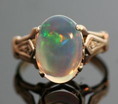 Antique Ring  Antique Opal Ring-14k Rose Gold by TheCopperCanary