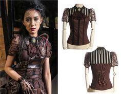 RQ-BL-Steampunk-Bluse-Shirt-Gothic-Lolita-Jabot-Octopus-Spitze-Victorian-braun