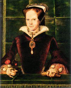Portrait de Marie I, reine d'Angleterre et d'Irlande, vêtue d'un pendentif avec une grande perle, 1554 Hans Eworth