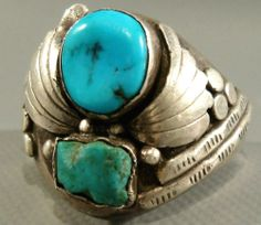 HEAVY BIG Vintage Navajo Old Pawn Turquoise Nugget Sterling Silver Ring SZ 13.75