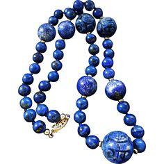 "Vintage Lapiz Lazuli Carved Bead Necklace 20"" Length Hand Carved Graduating Beads"