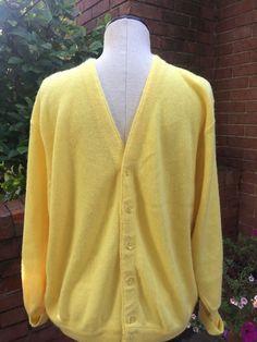 Men's Vintage Pickering Yellow Retro Style Golf  Cardigan Sweater #Pickering