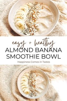 This almond butter banana smoothie bowl is so thick and creamy, it's just like eating ice cream for breakfast - but healthy! The recipe is insanely easy to make, with only 5 ingredients. Vegan   Dairy free   Gluten free   Paleo   Clean Eating   Low Calorie   Diet   Weight Loss   Breakfast   Dessert   Snack Vegetable Smoothie Recipes, Veggie Smoothies, Easy Smoothie Recipes, Easy Smoothies, Dairy Free Breakfasts, Gluten Free Recipes For Breakfast, Delicious Breakfast Recipes, Healthy Breakfasts, Ice Cream For Breakfast