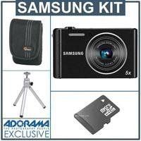 "Samsung ST76 16 Megapixels Digital Camera, Black - Bundle - with 8GB Micro SD Memory Card, Camera Case, Table Top Tripod by Samsung. $79.00. The Samsung ST76 Compact Digital Camera (Black) is a straight-forward point-and-shoot from Samsung. It boasts a 16Mp image sensor for high-res stills and 720p/30fps HD video. A 25mm, f/2.5 wide-angle lens, along with 5x optical zoom, Digiyal Image Stabilization and the 2.7"" LCD all come together as well for capturing clear, accura..."