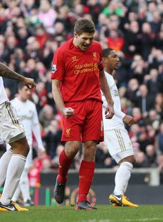 Nice one Stevie! Gerrard celebrates converting his penalty for Liverpool's goal against Swansea today. Liverpool Legends, Liverpool Fc, Steven Gerrard Liverpool, France Football, This Is Anfield, Sport Icon, Swansea, Football Players, First Love