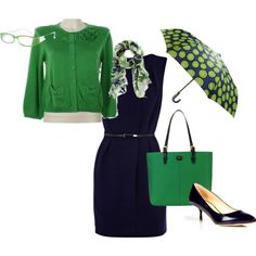 Navy Dress with Kelly Green Cardigan, created by wendy-sheets on Polyvore - My Aunt Wendy has great style :)