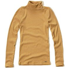 Hollister Must-Have Turtleneck T-Shirt ($17) ❤ liked on Polyvore featuring tops, t-shirts, dark yellow stripe, yellow t shirt, striped long sleeve tee, ribbed tee, long sleeve t shirts and striped long sleeve t shirt