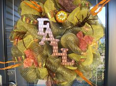 Harvest Fall Mesh Wreath by lilmaddydesigns on Etsy
