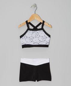 Black & White Lace Sports Bra & Shorts - Girls