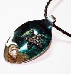 Starfish Altered Art Resin Spoon Pendant by Create-A-Pendant.deviantart.com on @deviantART