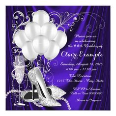 Womans Purple and Silver Birthday Party Luxe 5.25x5.25 Square Paper Invitation Card