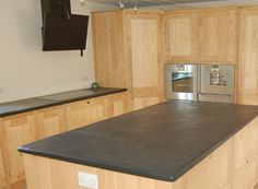 Slate Kitchen Worktop Photographs, Slate Sink Surrounds and Island Work Surfaces