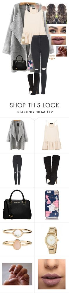 """""""Untitled #285"""" by hannah-faith1 ❤ liked on Polyvore featuring New Look, Topshop, GUESS, MICHAEL Michael Kors, Kate Spade, Accessorize, DKNY, LASplash and MANGO"""