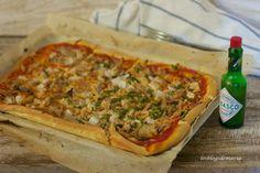 - Los Blogs de María -: Pizza de pollo y tabasco Tabasco, Vegetable Pizza, Vegetables, Food, Chicken Pizza, Pizza, Fun Recipes, Finger Foods, Thermomix