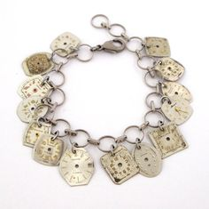 Steampunk Charm Bracelet Vintage Watch Designed by Mystic Pieces