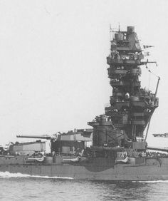 The remarkable pagoda style bridgework in Japanese battleship Fuso, pictured in . sunk in what was the last ever surface action between battleships. Naval History, Military History, Capital Ship, Imperial Japanese Navy, Big Guns, Navy Ships, Panzer, Aircraft Carrier, War Machine