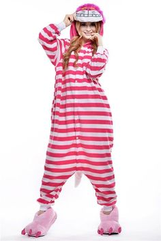This smiling cat, who speaks in riddles, is a Wonderland favorite. Based on the Cheshire Cat from Alice in Wonderland this onesie style costume is striped with light and dark pink stripes. The front h