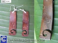Chana's Creations: Unique Coconut shell Earrings