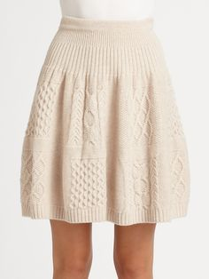 Marc By Marc Jacobs Glenda Cableknit Skirt in Beige (black) | Lyst
