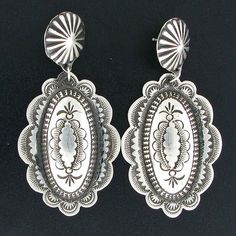 Sterling Silver Stamped Navajo Dangle Earrings by Vincent James Platero