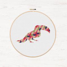 Toucan Cross Stitch Pattern Exotic Bird Geometric Toto Polygon Instant Download PDF Modern Cross Stitch Jungle Animal Collage Mosaic Gift