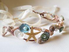 Mermaid Sea Shell Crown-Beach Wedding Crown- Hair Accessory-Sea Shell Flower Crown-Beach Wedding Hair Crown-Crown of Sea Shells