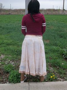 Long skirt Gypsy boho romantic upcycled by AnitaSperoDesign, $75.00
