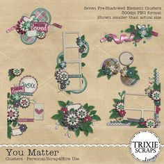 You Matter Digital Scrapbooking Clusters - You Matter is a new digital scrapbooking collection by Trixie Scraps - designed to help you tell the people you love most just how much they matter to you! Filled with plenty of flowers, hearts, ribbons and more, this kit has all the staples you need for fast, easy-to-complete pages. This cluster pack includes seven pre-shadowed element/frame/border clusters, saved as 300 dpi PNG files.