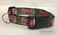 Pink Chevy Girl with Camo Dog Collar by classycanineco on Etsy, $12.00