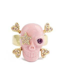 #Pink Resin Skull Ring by Wildfox available at Chic Peek
