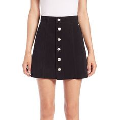Alexa Chung for AG The Grove Suede A-Line Mini Skirt ($195) ❤ liked on Polyvore featuring skirts, mini skirts, apparel & accessories, suede super black, button front skirt, short mini skirts, black a line mini skirt, black skirt and black suede skirt
