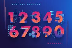 Ad: VR Icons and Typography by Polar Vectors on VR ICONS AND TYPOGRAPHY --- Amazing collection of illustrated letters, numbers, icons and patterns in futuristic theme. Typography Images, Graphic Design Typography, Number Typography, Images Alphabet, Alphabet Letters, Cover App, Number Icons, Web Design, Logo Design