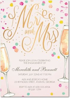 Dazzling Engagement - Signature White Textured Engagement Party Invitations - Bonnie Marcus - Chenille - Pink : Front