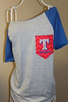 Need it in Royals or Mizzou!      Texas Rangers Pocket OfftheShoulder Shirt by SewSnazzybyBrook, $32.00