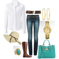 Crisp white shirt & a floppy hat, created by #yjmunson on polyvore.com