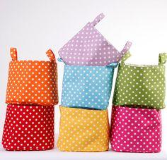 Fabric Organizer Bin Basket Container Blue Polka by LoveJoyCreate